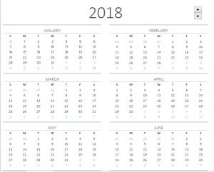 x2018 Printable Calendar One Page Sheet Template