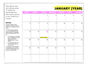 Any Year Student Calendar Template